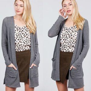 S,M,L Grey Cardigan with Pockets